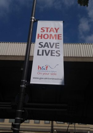 COVID-19 Sign London, Stay Home Save Lives